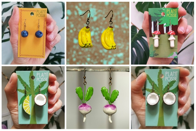 EXTRA Dangle Earrings options (mostly NEW items)! Blueberry, Banana bunch, Fly Agaric Mushroom, Lime + Coconut, Turnip, Coconuts