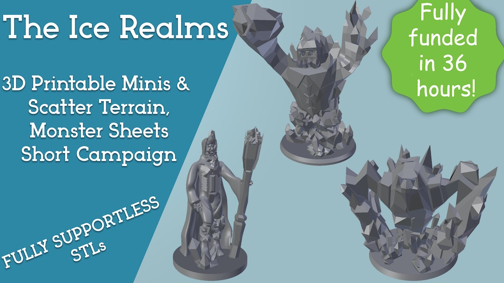 Project image for The Ice Realms - 3D Printable Minis and Scatter Terrain STLs