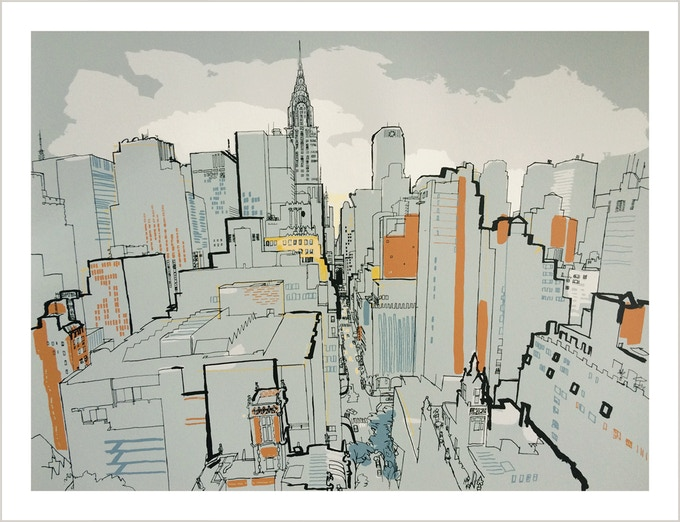 8 colour silkscreen print of The Chrysler Building and 43rd St. From a drawing made on the roof of Tudor City apartments. 56 x 70 cm (22 x 27.5 inches) includes 7cm / 2.5 inch border. Signed and numbered. Edition of 50.