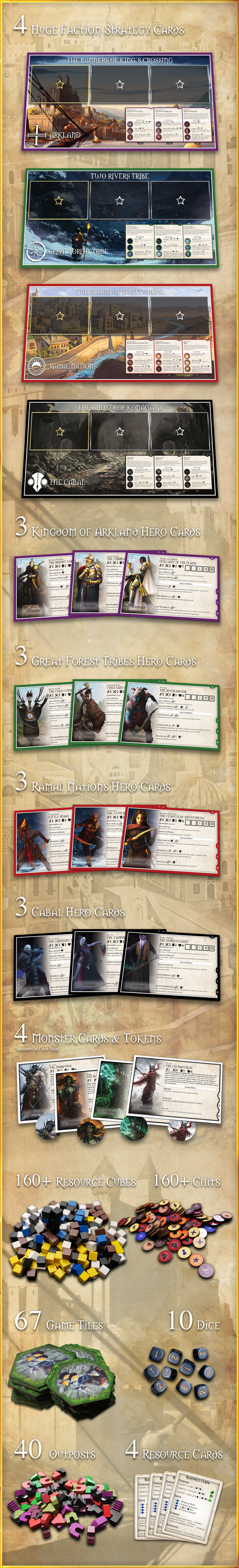 Unlocked stretch goals (additional tiles, linen finish) will also be INCLUDED!