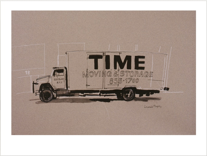 Giclée limited edition print of the drawing Time stopped, 1997. To fit either UK standard frame size (24 x 30 cm) or US standard frame (10 x 12 inches). Printed onto Hahnemuhle paper. Signed edition of 50. SOLD OUT please see Liberty truck below.