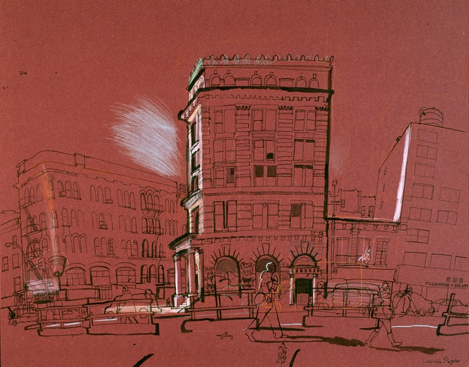 The Bowery. Original work. Light hits a building on Bowery and Spring Street in 2001. Crayon and ink on red faded coloured paper. 60 x 71 cm (22 x 28 inches) Framed.