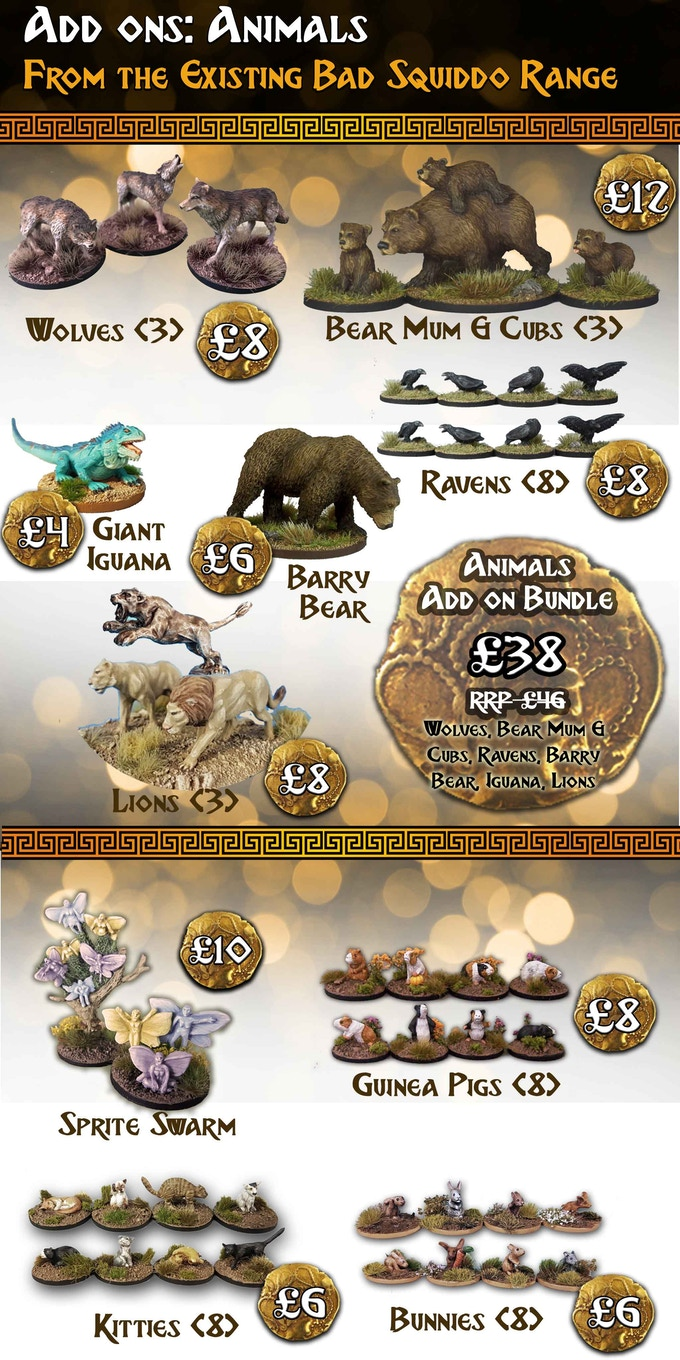 All the miniatures in this section are single piece and supplied unpainted. All are cast in high quality white metal apart from the Bears, who are in high quality resin.