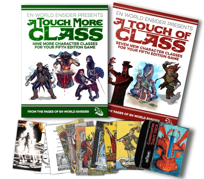 You can get either or both books from this Kickstarter, plus a unique set of cards for use with the cardcaster class in the original book.