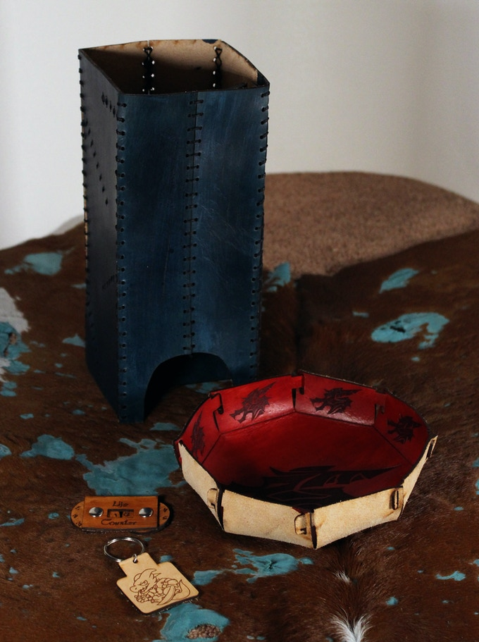 Leather Dice Tower, Bowl, Life Counter, & Keychain
