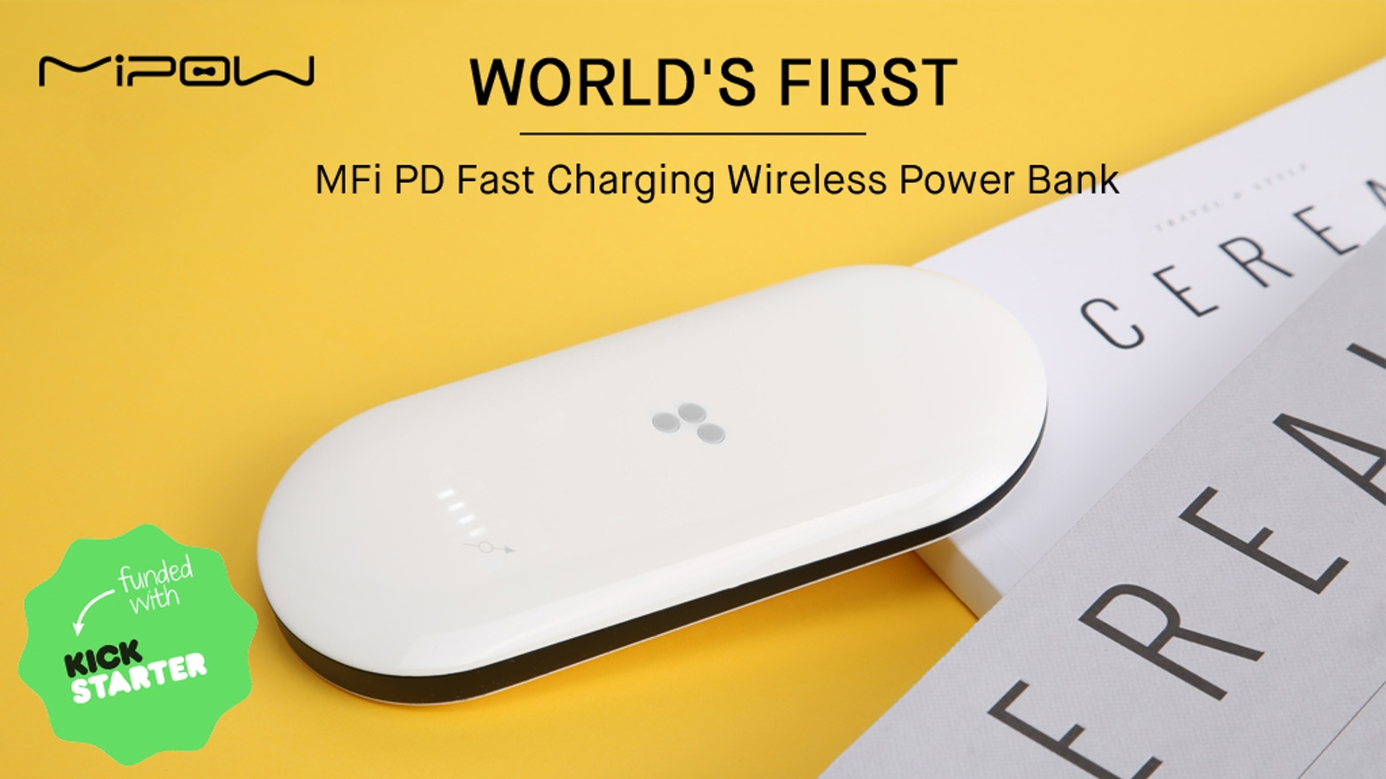 18W PD Fast Charging | 10000 mAh Capacity | MFi Certified Lightning | Qi Wireless&Cable Charging | Slide Touch Open | Non-slip UV Coat