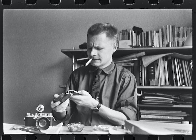 Hans G. Conrad with his Leica III, ca. 1955