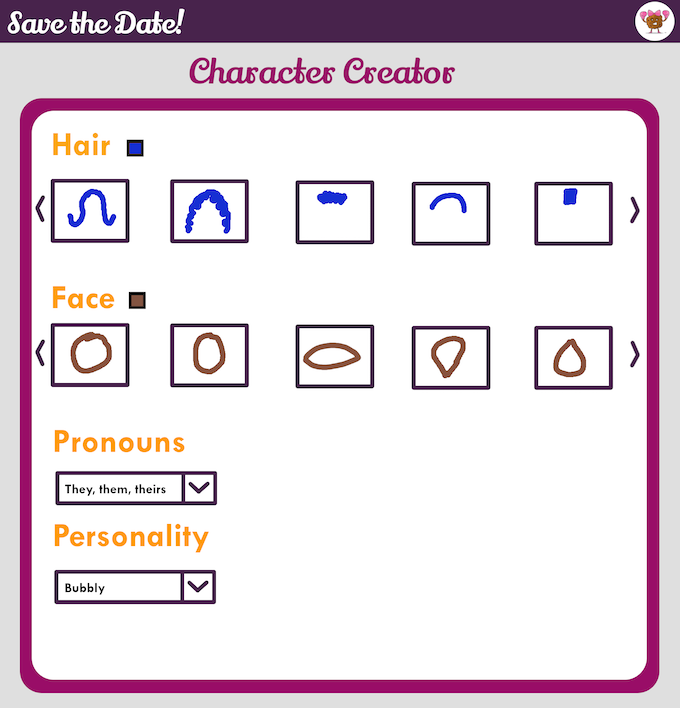 Rough mock up of the types of things you could choose in the character creator.