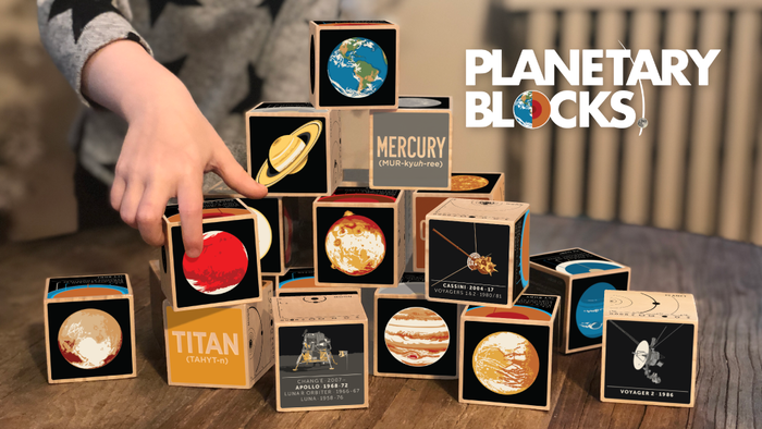 A set of 20 Solar System toy blocks. featuring 8 planets, 8 moons, 3 dwarf planets and just one star.