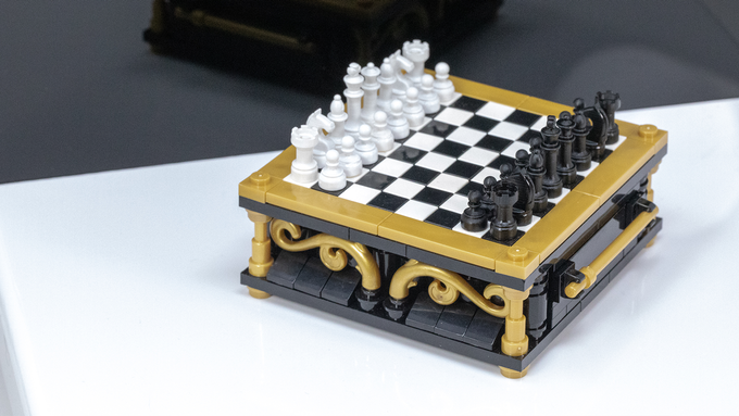 Brick Mini Chess sets make for a striking display - especially when paired with our Grandmaster Gameboard kit seen here (purchased as an add-on). *Photo is of prototypes only - final product will be injection molded ABS in color-matched colors with a polished finish.*