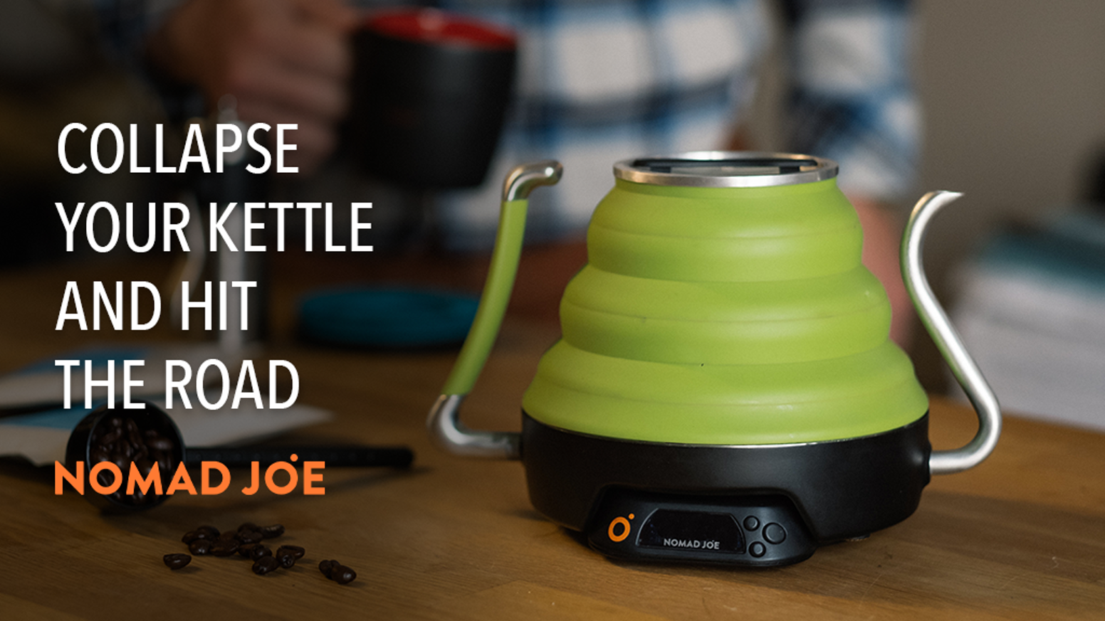 This portable electric kettle conveniently makes coffee or tea and then collapses down for travel or compact storage