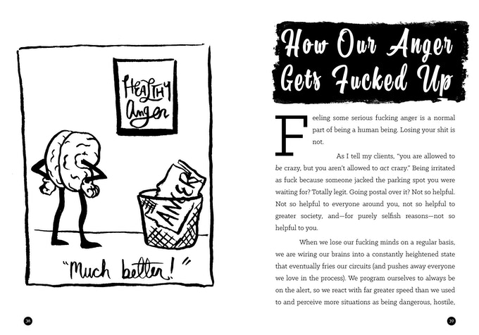 "A spread from the book, showing an illustration of a brain throwing unhealthy anger in the trash, with a framed ""healthy anger"" poster on the wall, and the text ""Much better!"""