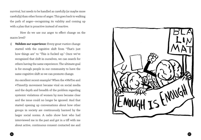 """A spread from the book's chapter on using your anger for social action, showing an illustration of brains participating in a march, holding a sign that says """"enough is enough"""""""