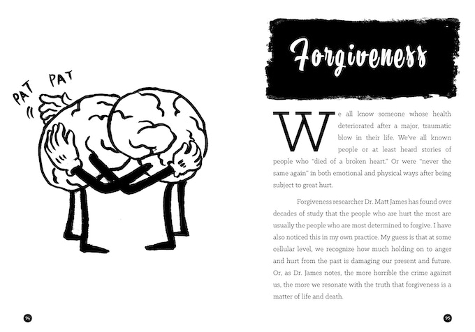 A spread from the chapter on forgiveness, showing two brains hugging it out.
