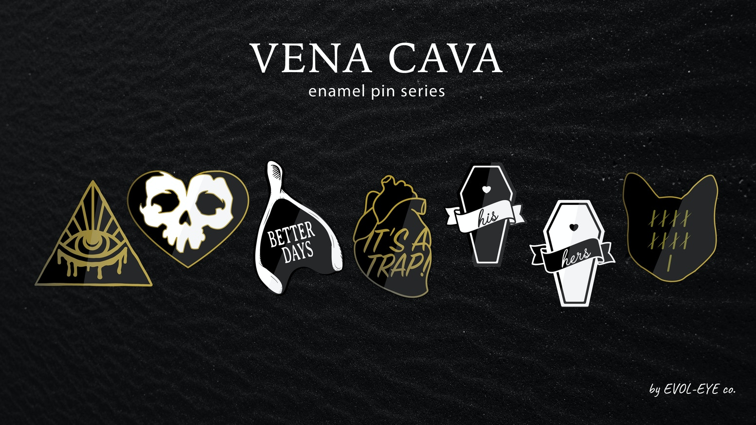 Enamel pin series featuring, love, loss, and hope for better days.