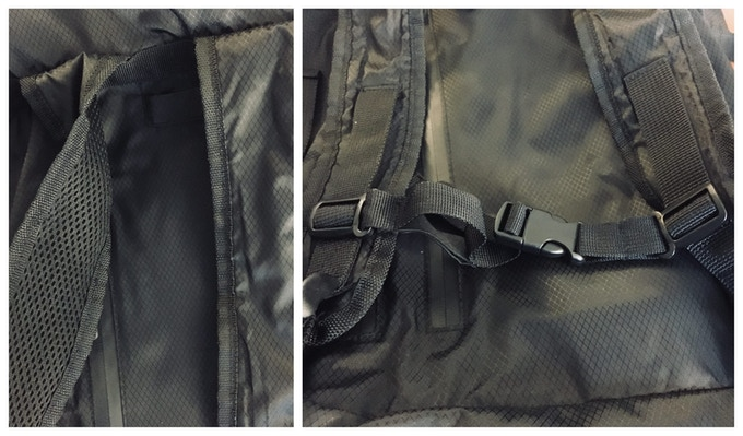 Shoulder Strap (Left) has a soft mesh on the outside with padding on the inside. Sternum strap (right) can adjust up and down and open wider.