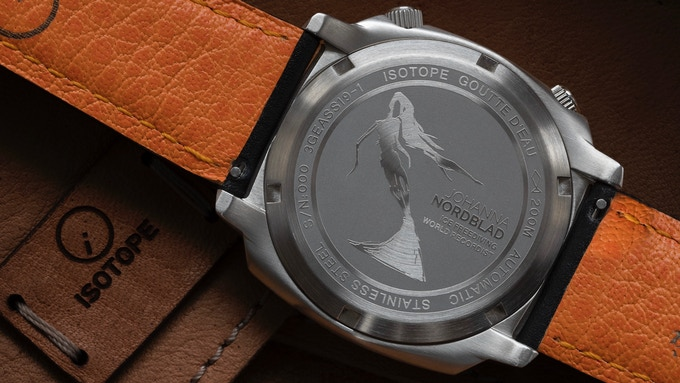 Goutte d'Eau Nordblad exclusive etched case back pictured with French calf leather strap