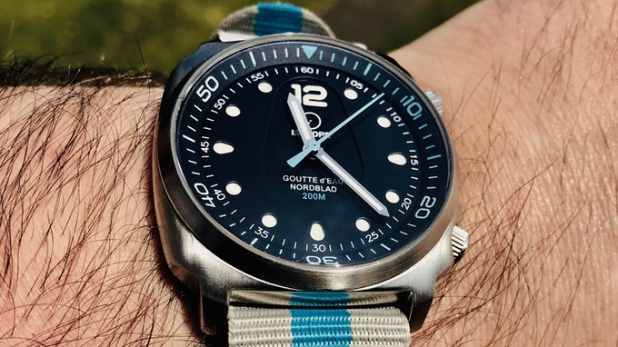 Goutte d'Eau Nordblad pictured with optional Nato strap