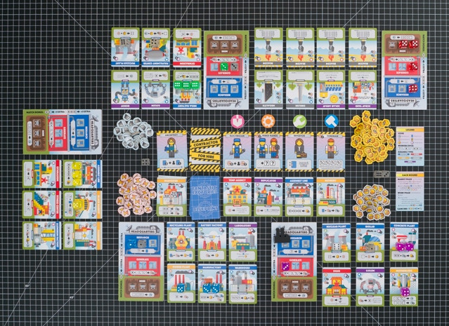 A five-player game, sort of. (If this were a real game, the players would probably have some resource and Goods tokens, as this looks like it is at the end of the game)