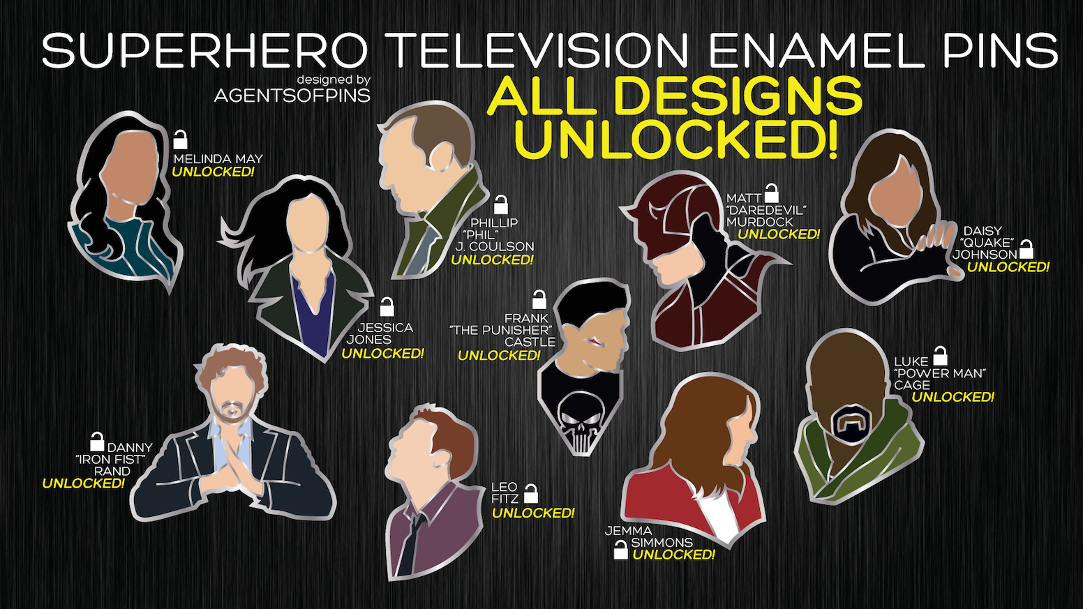 A selection of enamel pins inspired by characters from Marvel Television, including both Marvel Netflix and Marvel's Agents of SHIELD.