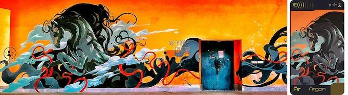 mural of Argon in Kharagpur, India, 2019