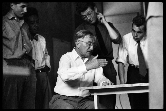 Josef Albers in his second preliminary course with students; from left: Herbert Lindinger, Shoichi Kawai, Claude Schnaidt, and Peter Seitz (?), 25 July, 1955.