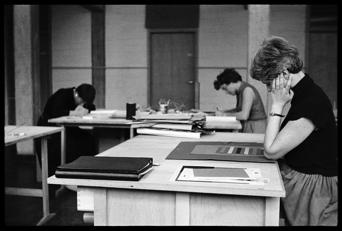 Student Frauke Koch-Weser working at interaction of color in Albers' second preliminary course, 5 July, 1955.