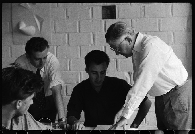 Josef Albers with students (from left: Herbert Lindinger, Alexandre Wollner, Rolf Schroeter) in his second preliminary course, 26 July, 1955.