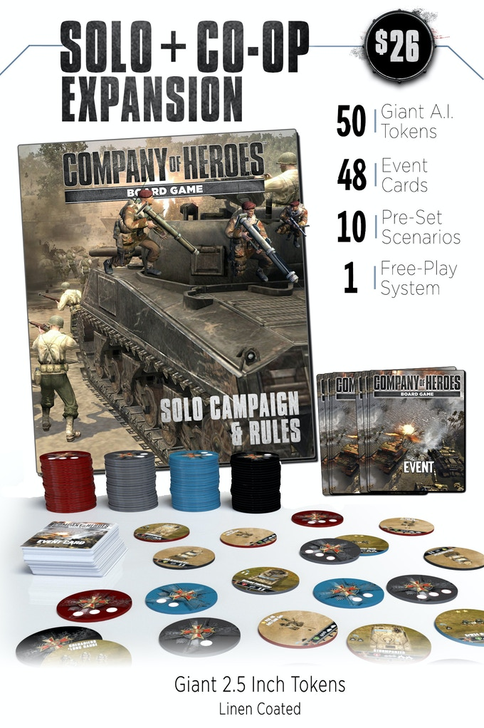 The Solo & Cooperative pack allows you to now play the Company of Heroes Board Game solo or with a partner! Featuring a unique fog of war and AI reaction system, overcome 10 pre-set scenarios and challenges, or dive into a fully functioning free-play system like the video games' AI multiplayer!