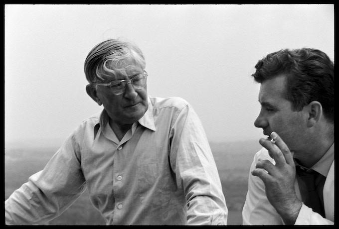 Josef Albers and Otl Aicher at HfG Ulm's terrace, 20 June, 1955.