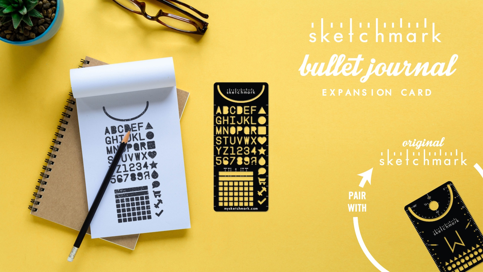 Create more with the Bullet Journal Expansion Card, the latest addition to the Sketchmark family of high-quality bookmark stencils.