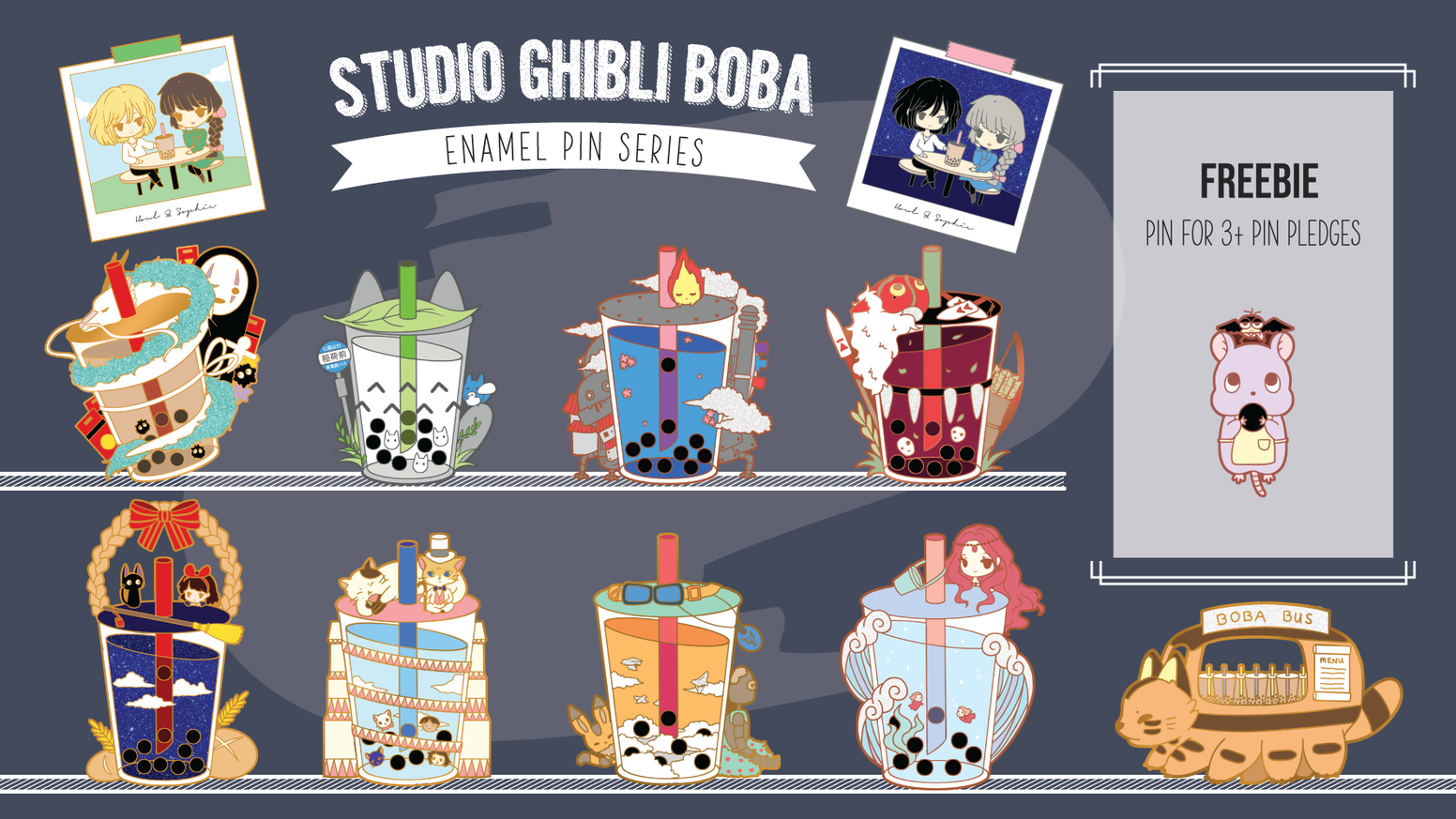 Your favourite Ghibli movies in boba pin form!
