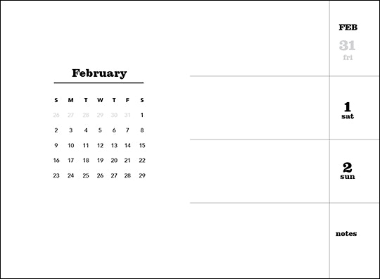 Each month has an at-a-glance calendar and an open, uncluttered layout.