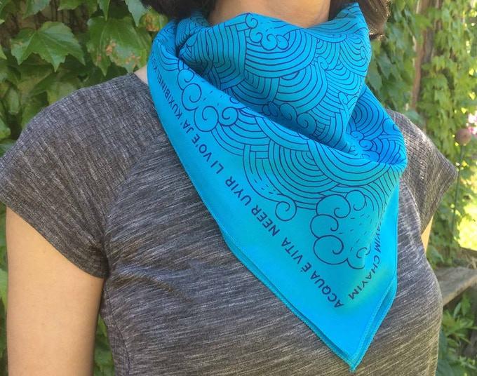 """Water is Life"" bandana designed by Shaun Slifer."