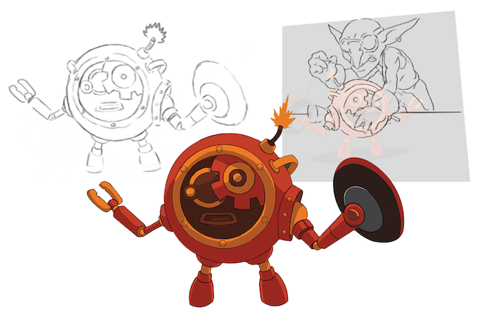 Early Sketches of Blast Bot and Reconstructor