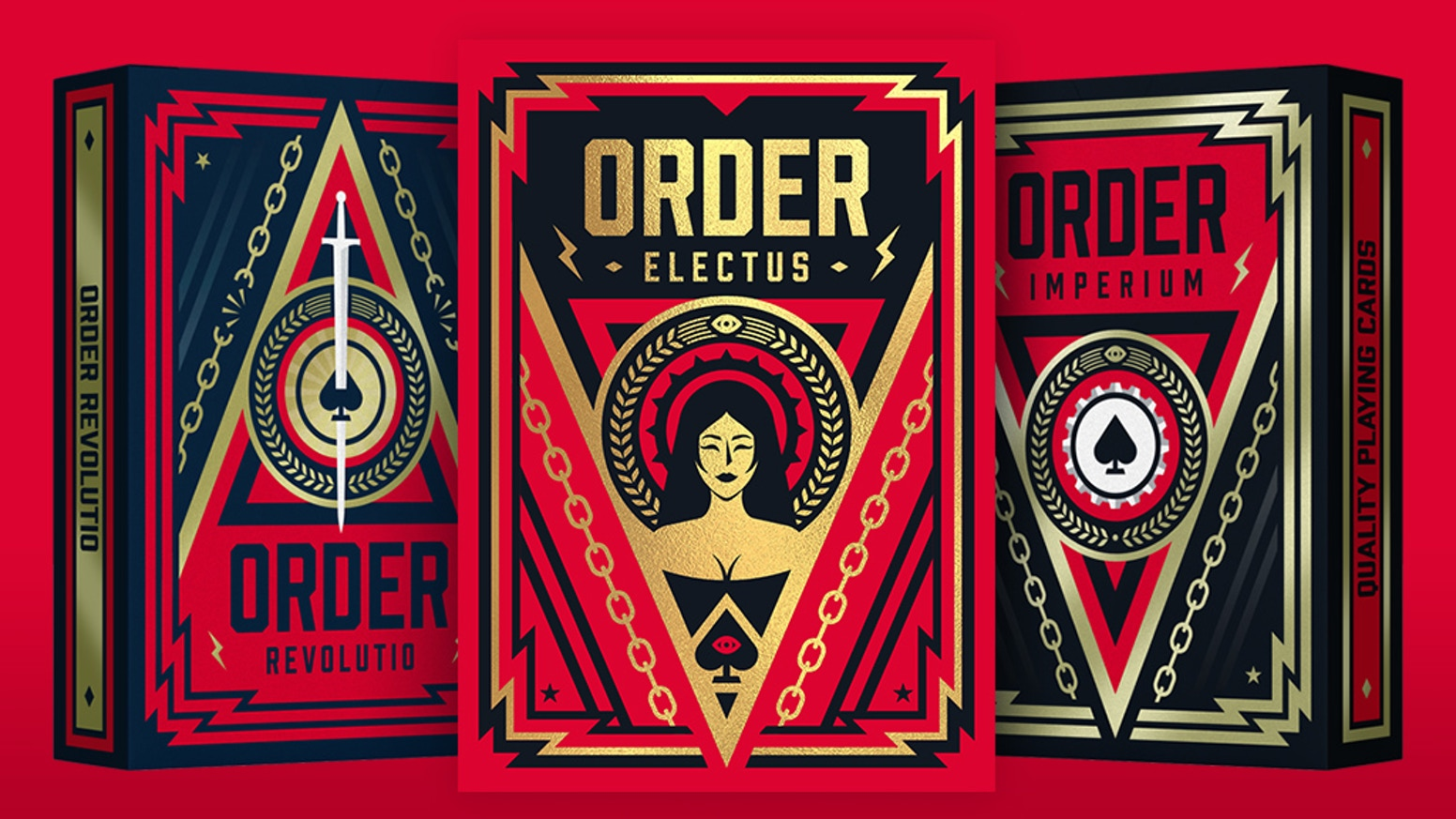 Playing cards inspired by propaganda art and dystopian novels.