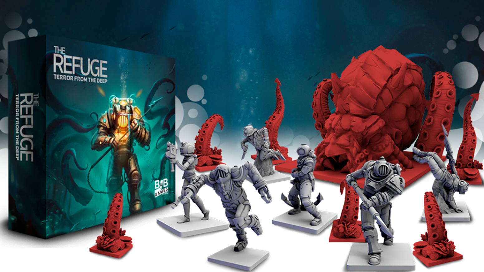 Can you escape? Find out in this 1-6 player board game with gorgeous miniatures of steampunk divers and a deadly Kraken!