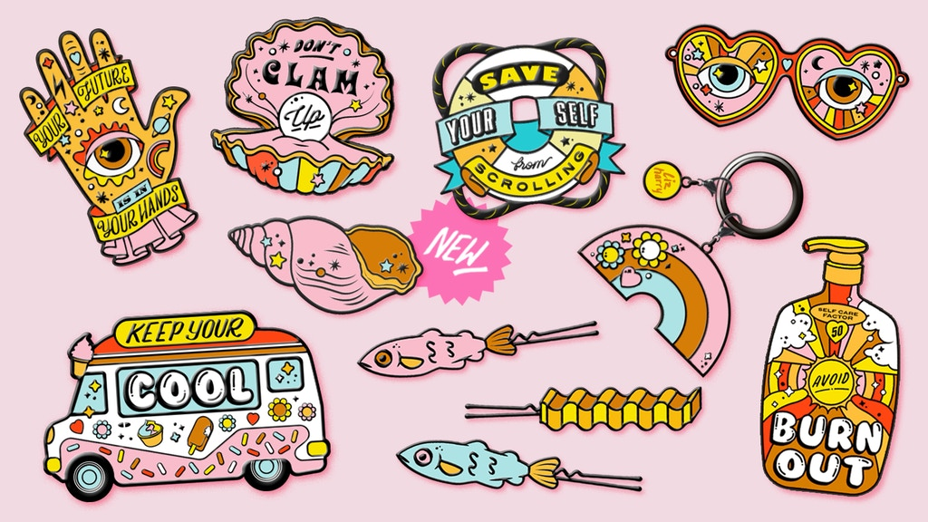 Summer Burnout Enamel Pin Collection, Stickers & accessories project video thumbnail