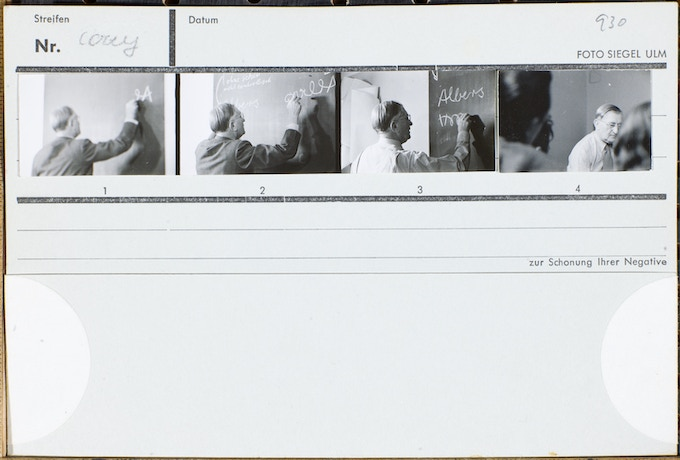 An example of the original cardboards which were used by the photographer, Hans G. Conrad, for archiving the negatives. The contact proofs show the sequences of images as if it were a stop motion film. This historic material inspired the graphic designer of the book, Petra Hollenbach, to use a similar banderole for the book cover.