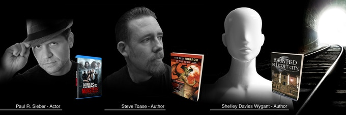 Actor Paul R. Sieber of Ninjas vs Monsters, author Steve Toase and author Shelley Davies Wygant
