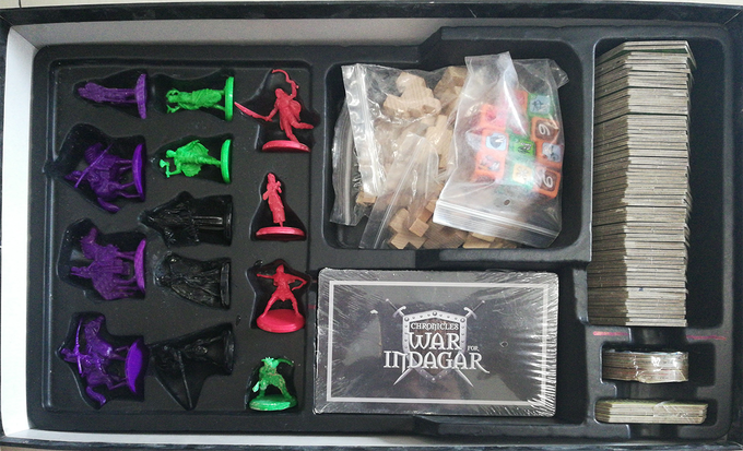 Here's a real shot of the game box insert, miniatures, tiles, and cards! Dice/outposts still in progress ::PARDON OUR DUST::