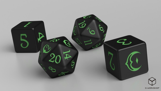 A set contains five 20-sided dice and five 6-sided dice