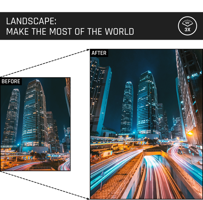 Our world is vast with so much to see. Make the most of breathtaking landscapes with your ultra wide angle lens.