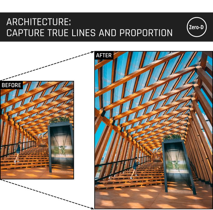Capture majestic architecture preserving original content just as you see it. Thanks to the groundbreaking aspherical lens, you can avoid warping of lines and that all-important proportion.