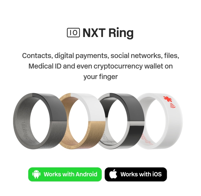 NXT: Titanium & Gold Battery-Free Connected NFC Crypto Rings