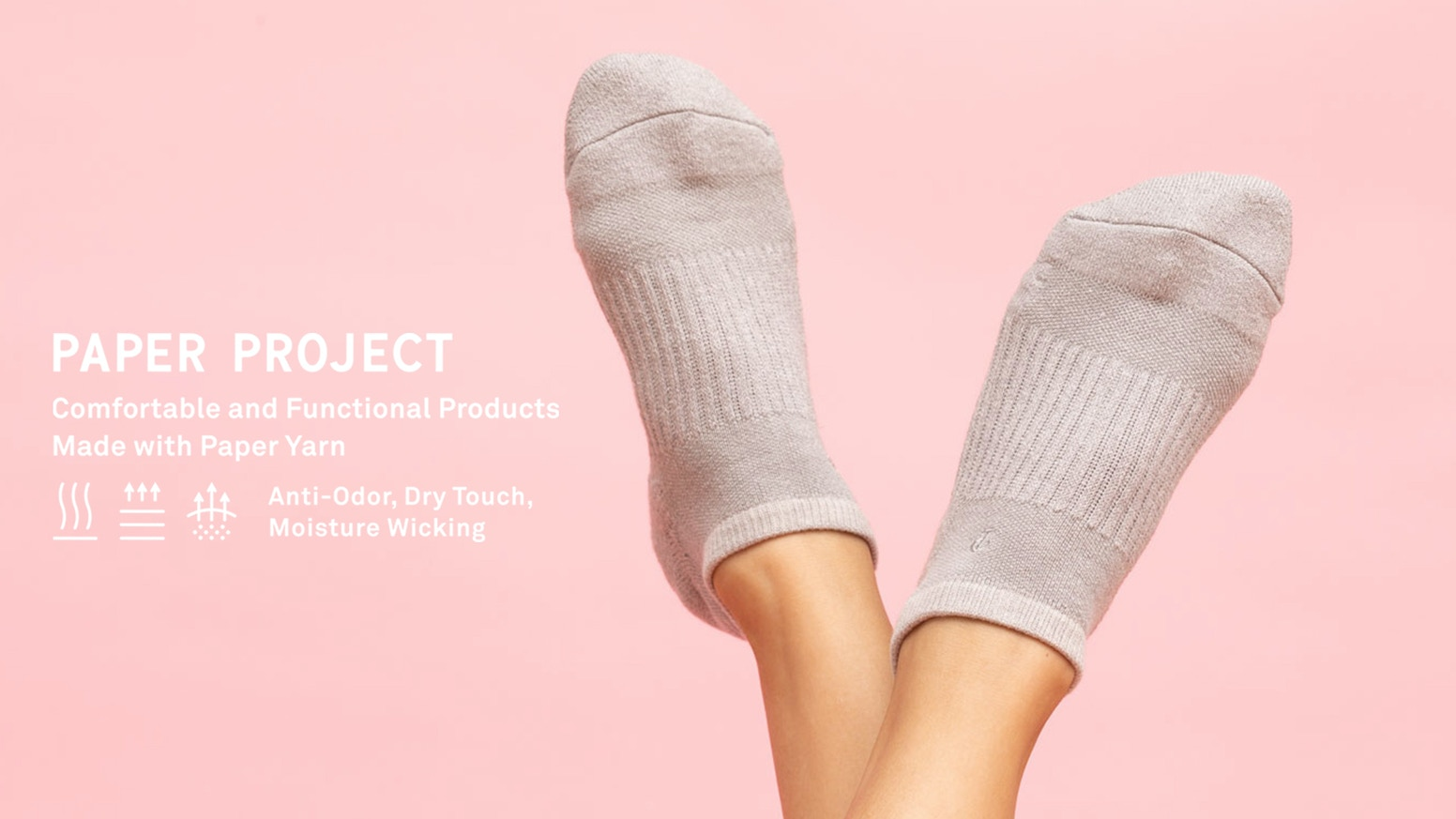Socks to keep feet clean and dry through the ​natural benefits of paper yarn.