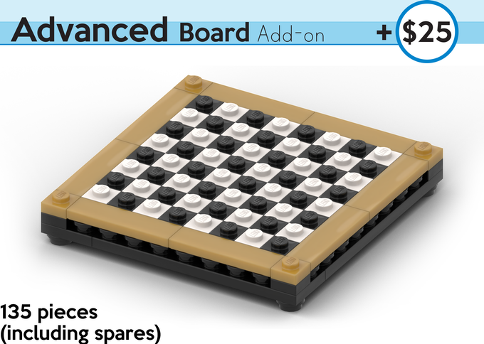 An Elegant Black and White Board with Trim. All kit pieces are authentic LEGO, sourced brand new.