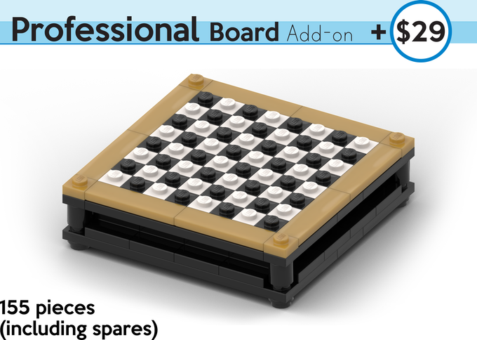 An Upgraded Advanced Board in black and white with a compartment for storing your Brick Mini Chess Figures! All kit pieces are authentic LEGO, sourced brand new.