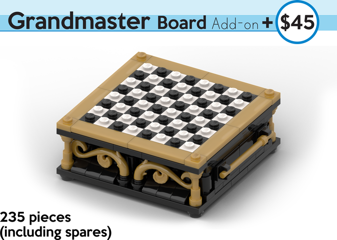 A Beautifully Designed, Black and White Statement Board with Drawers for storing your Brick Mini Chess Figures! All kit pieces are authentic LEGO, sourced brand new.