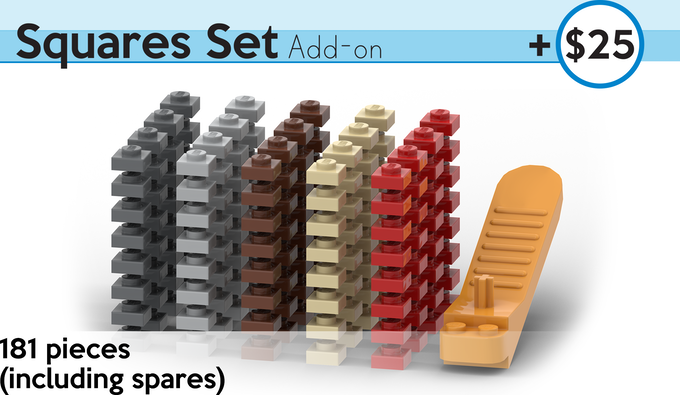 Dress your chess board with squares of any color! A handy brick-separator tool is included to make swapping plates easy. All pieces are authentic LEGO, sourced brand new.